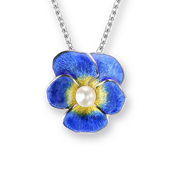 Sterling Silver Pansy Necklace-Blue. Pearls