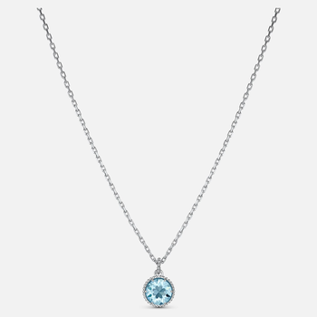 Birthstone Pendant, Aqua, Rhodium plated