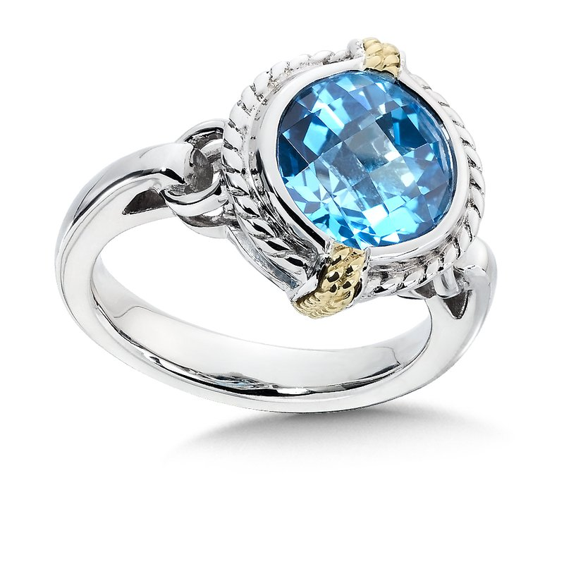 Colore Sg Sterling Silver, 18K Gold and Blue Topaz Ring