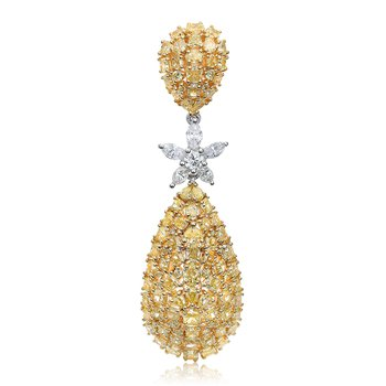 Two Tone Yellow Diamond Drop Earrings
