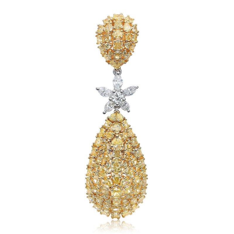 Two Tone Yellow Diamond Drop Earrings
