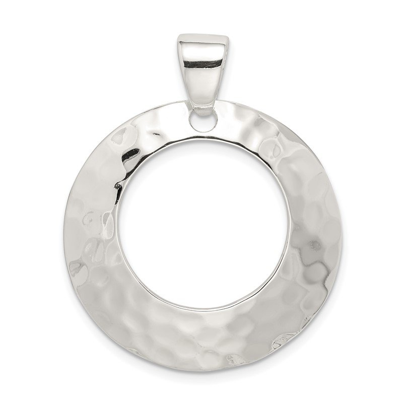 Quality Gold Sterling Silver Hammered Circle Pendant
