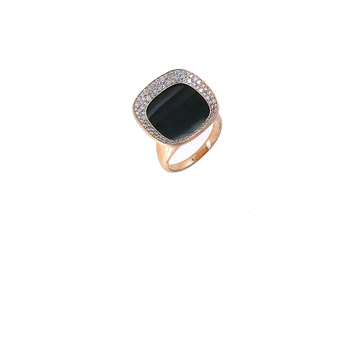 18Kt Rose Gold Ring With Black Jade And Diamonds