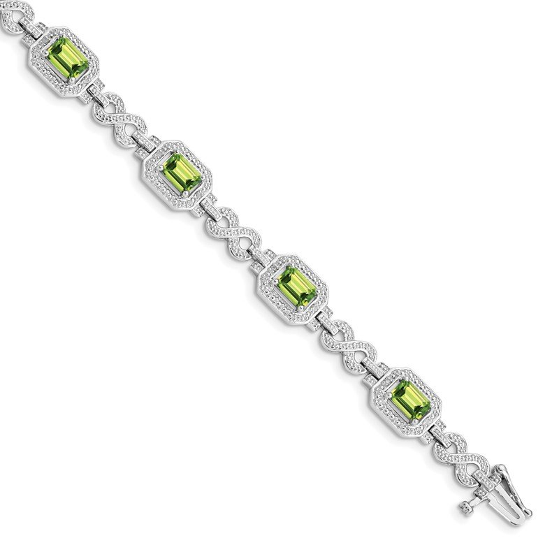 Quality Gold Sterling Silver Rhodium-plated Diamond & Peridot Bracelet
