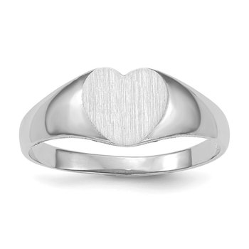 14k White Gold 7.0x9.5mm Closed Back Heart Signet Ring
