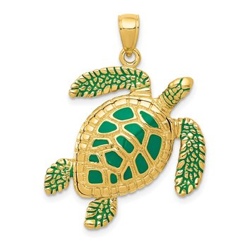 14k 3-D Enameled Sea Turtle Pendant
