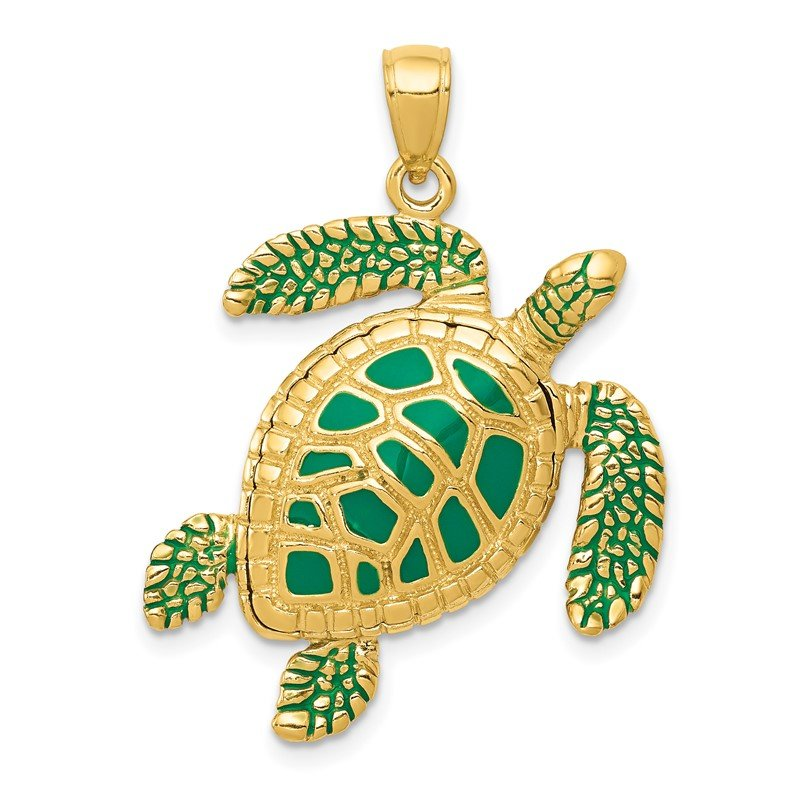 Quality Gold 14k 3-D Enameled Sea Turtle Pendant