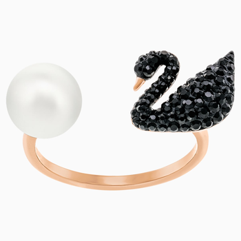 Iconic Swan Open Ring, Black, Rose-gold tone plated
