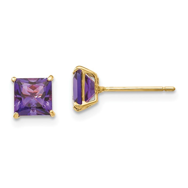 Quality Gold 14k Madi K Amethyst 5mm Square Post Earrings