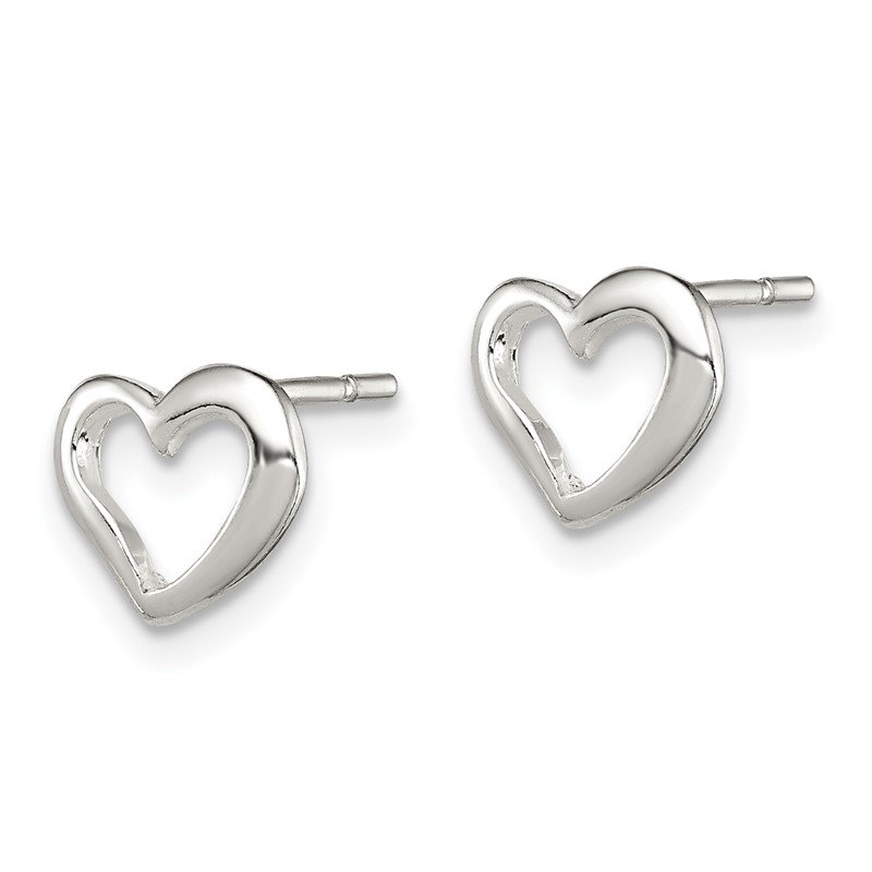 Quality Gold Sterling Silver Polished Heart Post Earrings