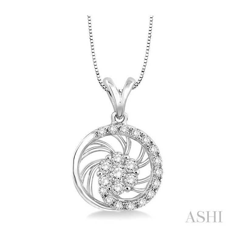 Gemstone Collection flower shape diamond pendant