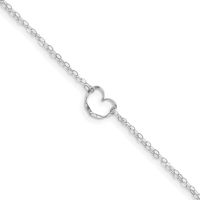 Quality Gold 14k White Gold Double Strand Heart 9in Plus 1in ext. Anklet