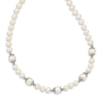 Sterling Silver Rhod-plated 6-9mm White off Round 5-station Necklace