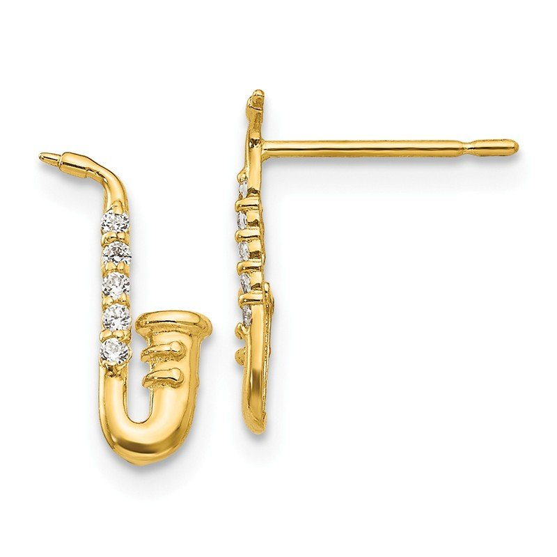 Quality Gold 14k Madi K CZ Children's Saxophone Post Earrings
