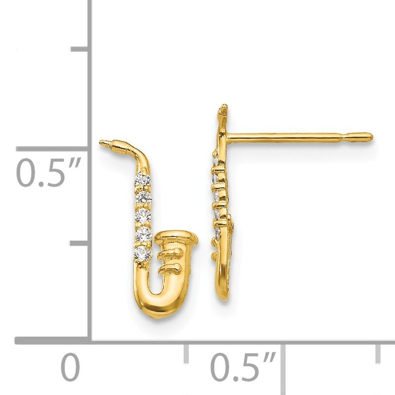 Quality Gold 14k Madi K CZ Saxophone Post Earrings
