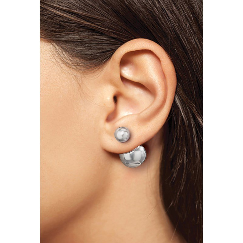 Leslie's Leslie's Sterling Silver Polished Front Back Earrings