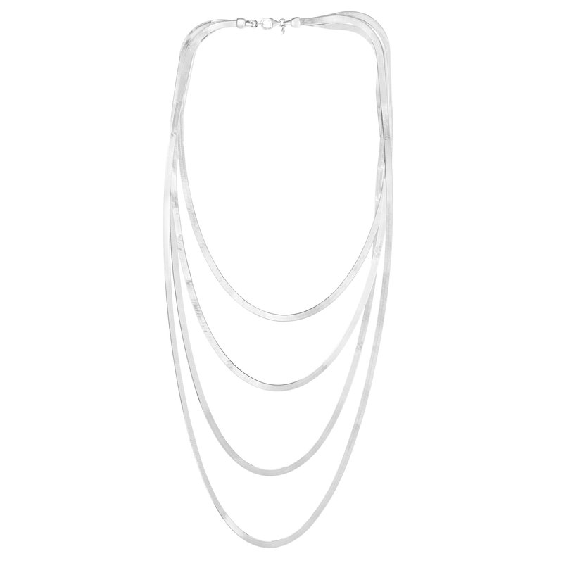 Royal Chain Silver Herringbone Multistrand Necklace