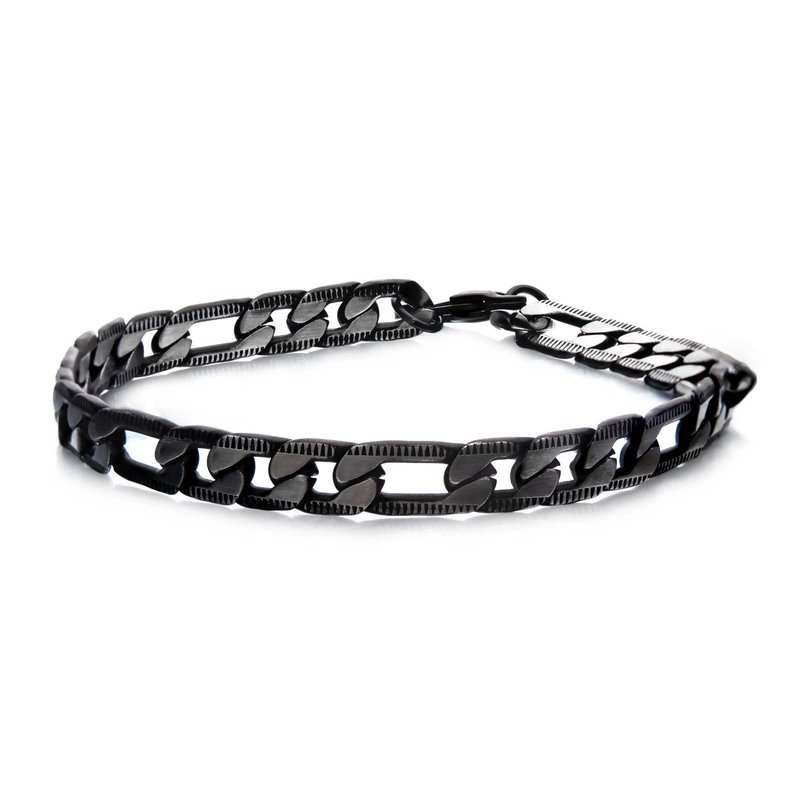 INOX Stainless Steel Black Plated Figaro Chain with Lobster Clasp