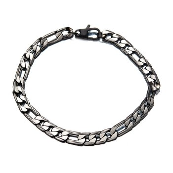 Stainless Steel Black Plated Figaro Chain with Lobster Clasp