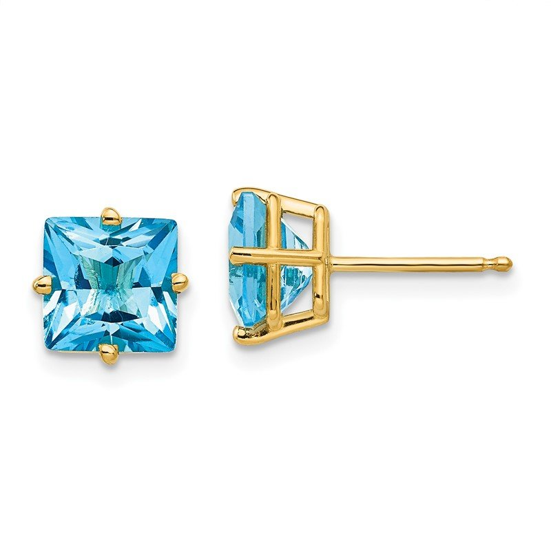 Quality Gold 14k 7mm Princess Cut Blue Topaz Earrings