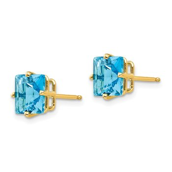 14k 7mm Princess Cut Blue Topaz Earrings