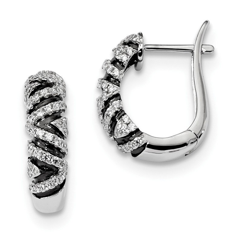 Quality Gold SS Rhodium-Plated CZ Brilliant Hinged Hoop Earrings