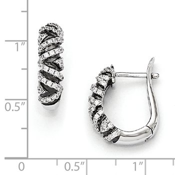 SS Rhodium-Plated CZ Brilliant Hinged Hoop Earrings