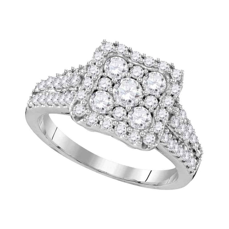 Gold-N-Diamonds, Inc. (Atlanta) 10kt White Gold Womens Round Diamond Square Cluster Halo Bridal Wedding Engagement Ring 1-1/5 Cttw