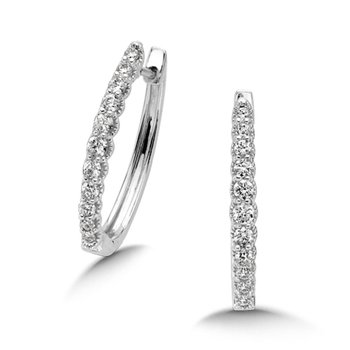 Pave set Diamond Heirloom Oval Hoops in 14k White Gold (1/2ct. tw.) JK/I1