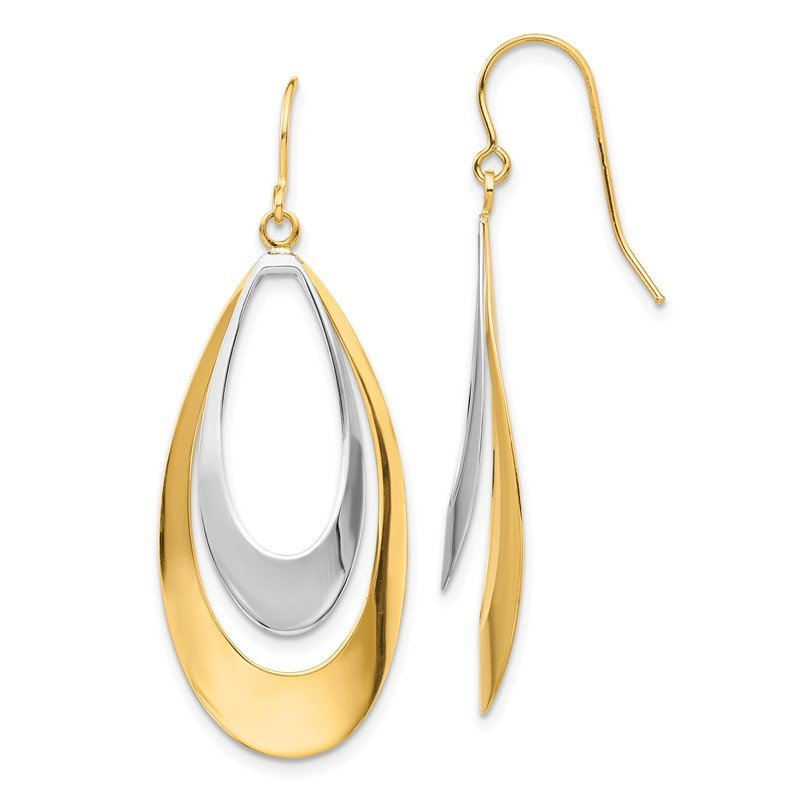 Quality Gold 14K Two-tone Dangle Earrings