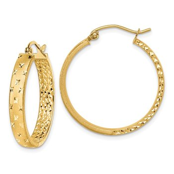 14k Satin and Polished Diamond-cut In/Out Hoop Earrings