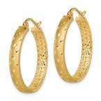 J.F. Kruse Signature Collection 14k Satin and Polished Diamond-cut In/Out Hoop Earrings