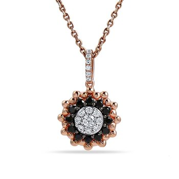 "14K flower design pendant with 15 diamonds 0.17CT & 12 sapphires 0.30CT 18"" chain"