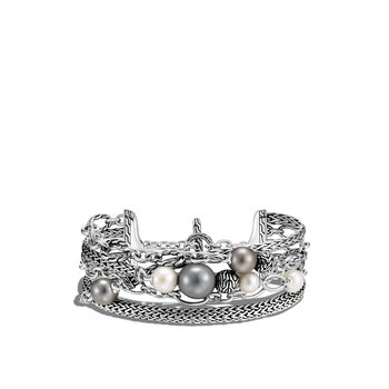 Classic Chain Multi Row Bracelet in Silver with Pearl