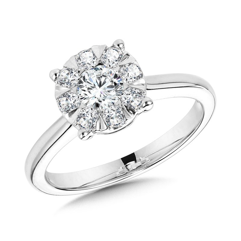 SDC Creations Solitaire Cluster Diamond Mirage Engagement Ring