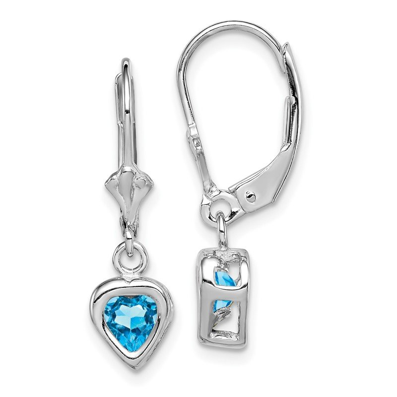 Quality Gold Sterling Silver Rhodium 5mm Heart Blue Topaz Leverback Earrings