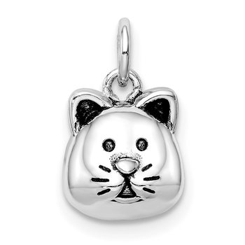 Sterling Silver Rhodium-plated Antiqued Cat Head Pendant