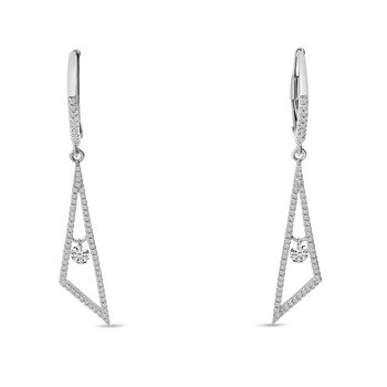 14K White Gold Triangle Hanging Diamond Earrings
