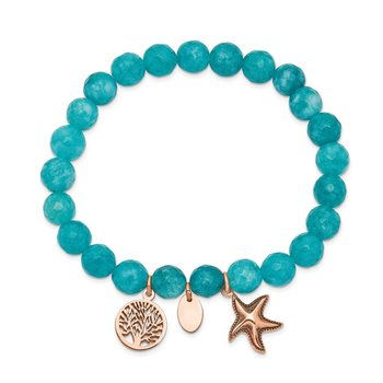 Stainless Steel Antiqued & Polished Rose IP Starfish Aqua Dyed Jade Bracele