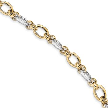 14K Two-tone Polsihed Fancy Link Bracelet
