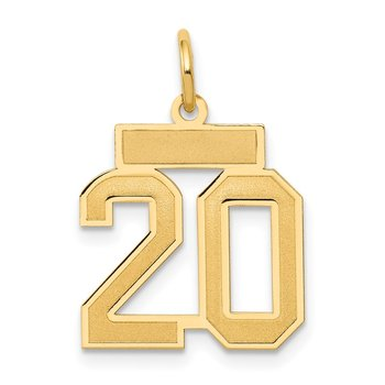 14k Small Satin Number 20 Charm