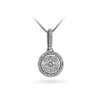 14K WG Diamond Galaxy Pendant in Prong Setting