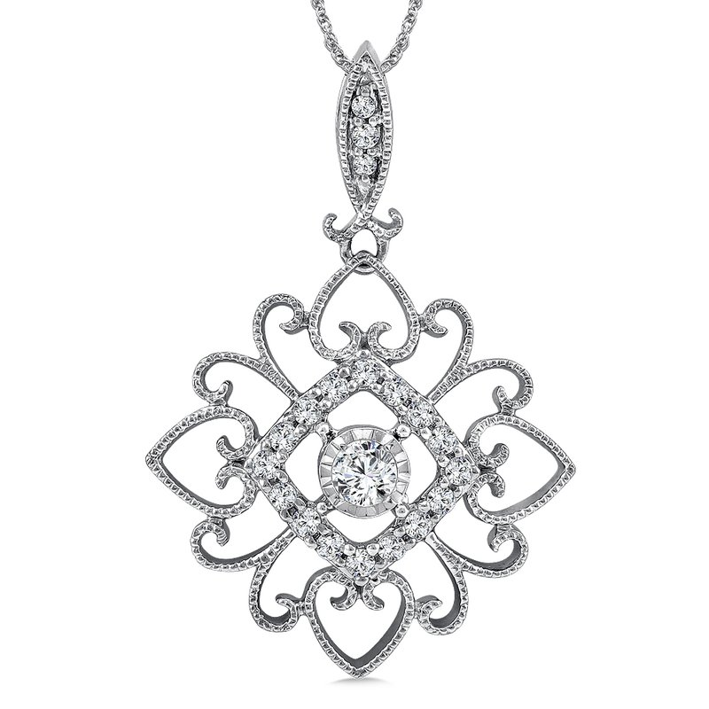 SDC Creations Diamond Pendant in 14K White Gold (.18 ct. tw.)