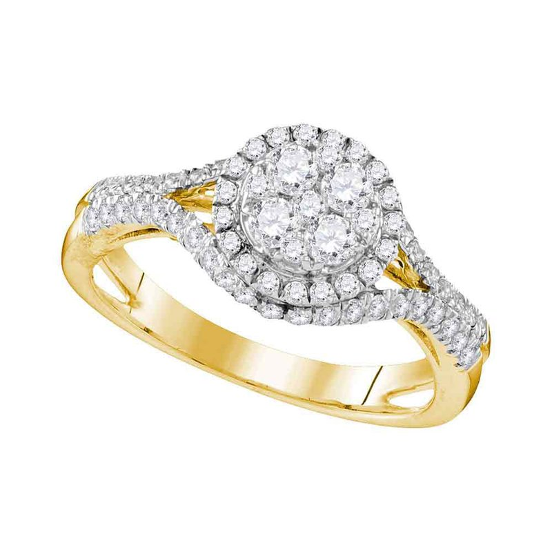 Gold-N-Diamonds, Inc. (Atlanta) 10kt Yellow Gold Womens Round Diamond Cluster Bridal Wedding Engagement Ring 1.00 Cttw