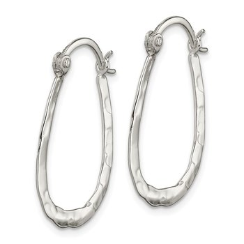 Sterling Silver Hammered and Polished Oval Hoop Earrings