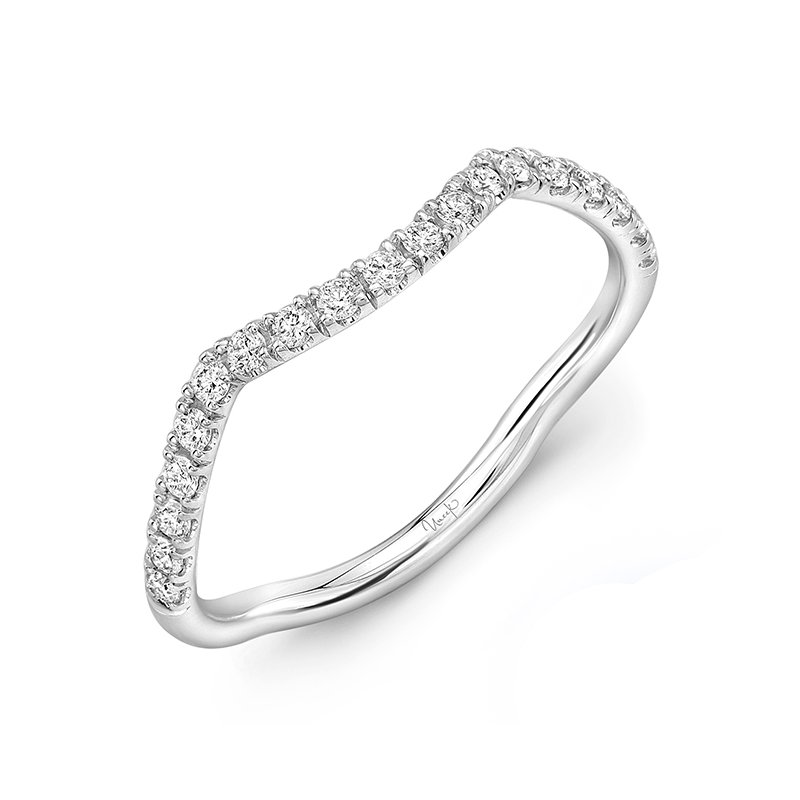 Uneek Fine Jewelry Uneek Infinity Pave Diamond  Contoured Wedding Band in 14K White Gold