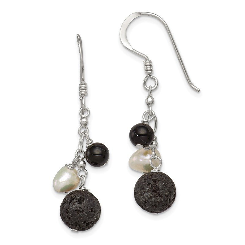Quality Gold Sterling Silver FWC Pearl/Black Agate/Lava Rock Dangle Earrings