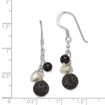 Sterling Silver FWC Pearl/Black Agate/Lava Rock Dangle Earrings