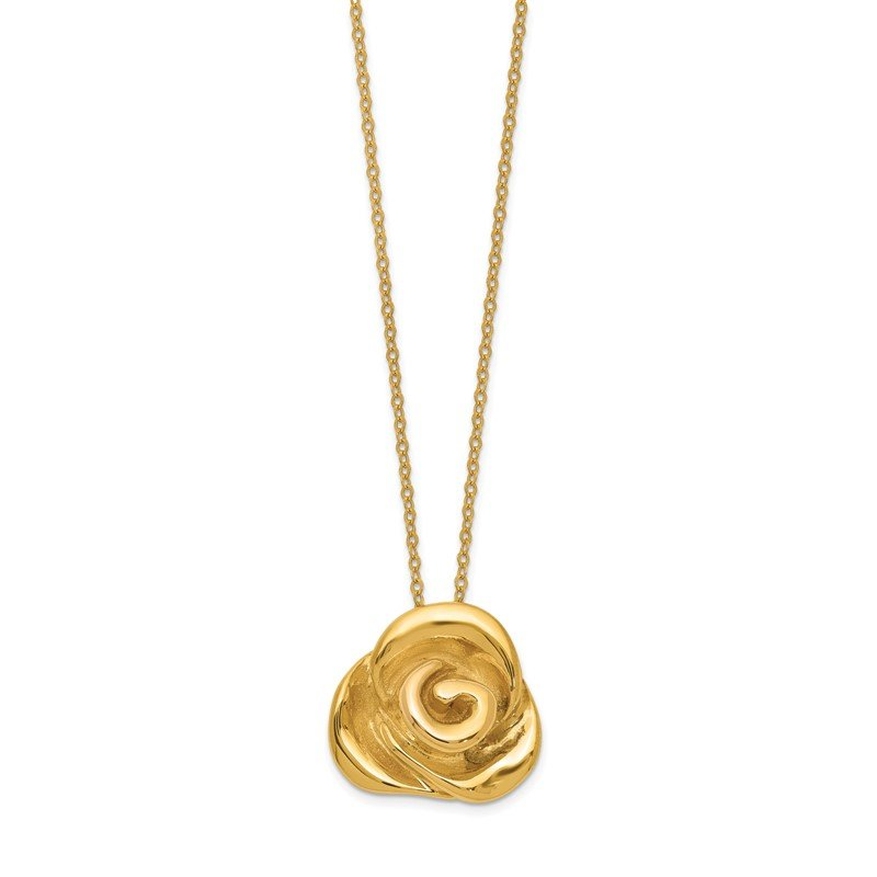 Quality Gold 14k Polished Puffed Rose 18in Necklace