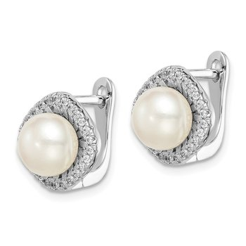 Sterling Silver Rhod-plat 7-8mm White Button FWC Pearl CZ Earrings